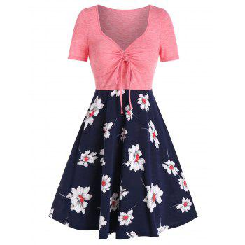 Printed Floral Drawstring High Waist Dress