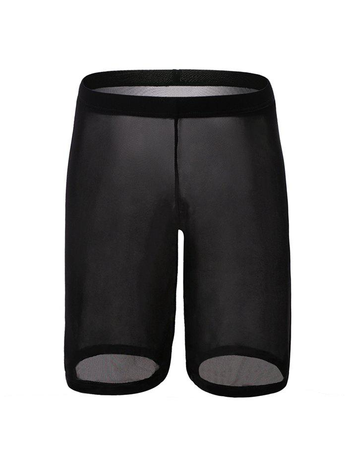Sexy Plain Pinhole Mesh High Waist Shorts - BLACK 2XL