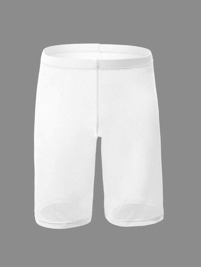 Sexy Plain Pinhole Mesh High Waist Shorts - WHITE 2XL