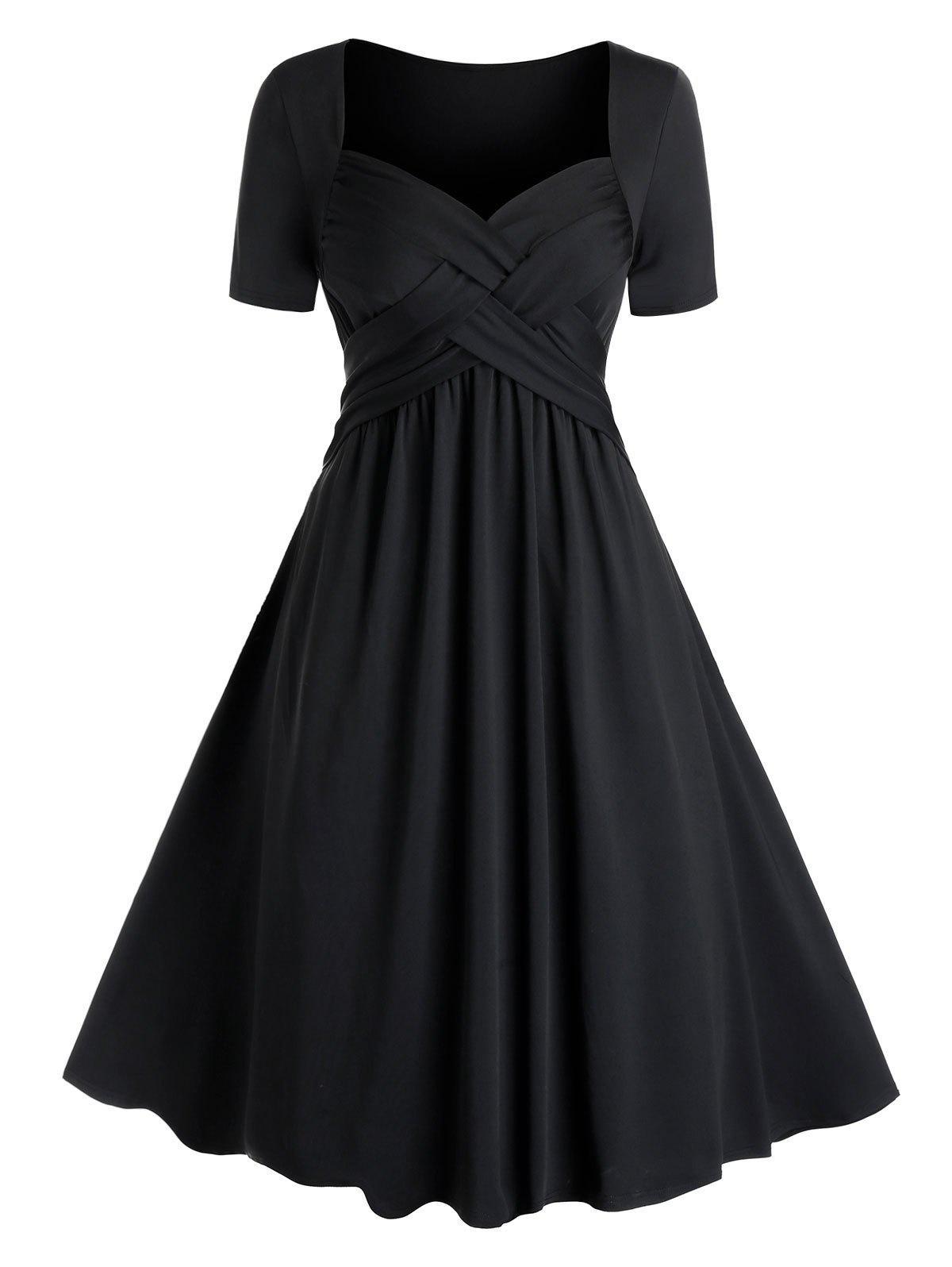 Plus Size Crossover Fit and Flare Dress - BLACK 3X