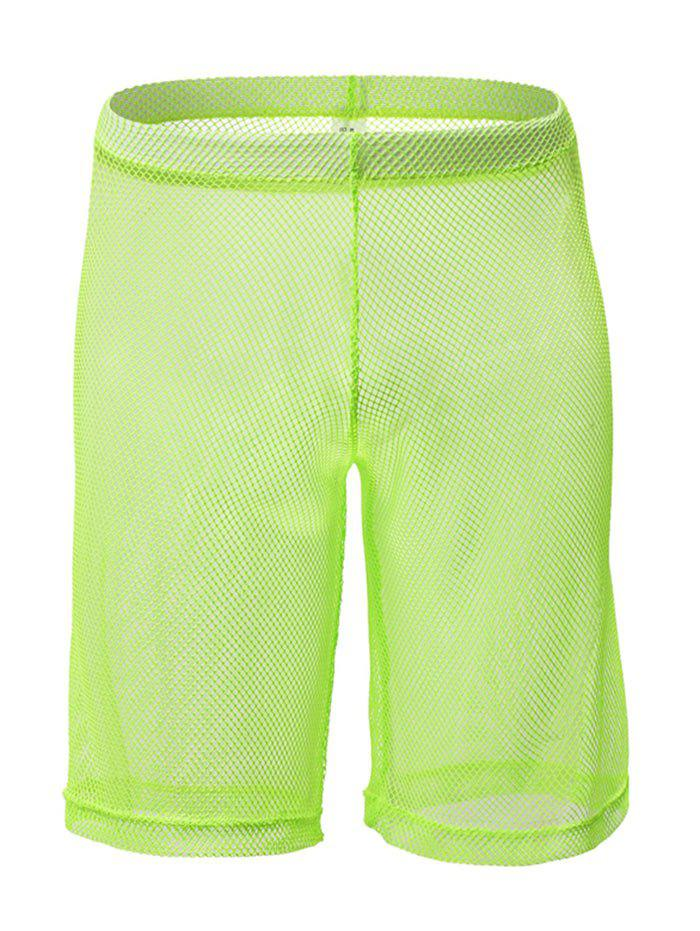 Sexy Sheer Mesh High Waist Shorts - GREEN 2XL