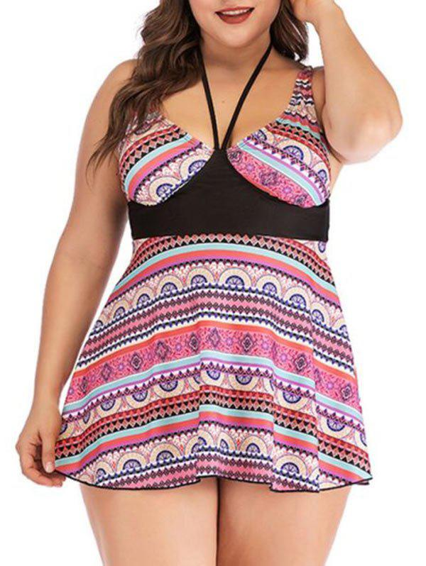 Tribal Print Skirted Plus Size Tankini Swimwear - RED 3X