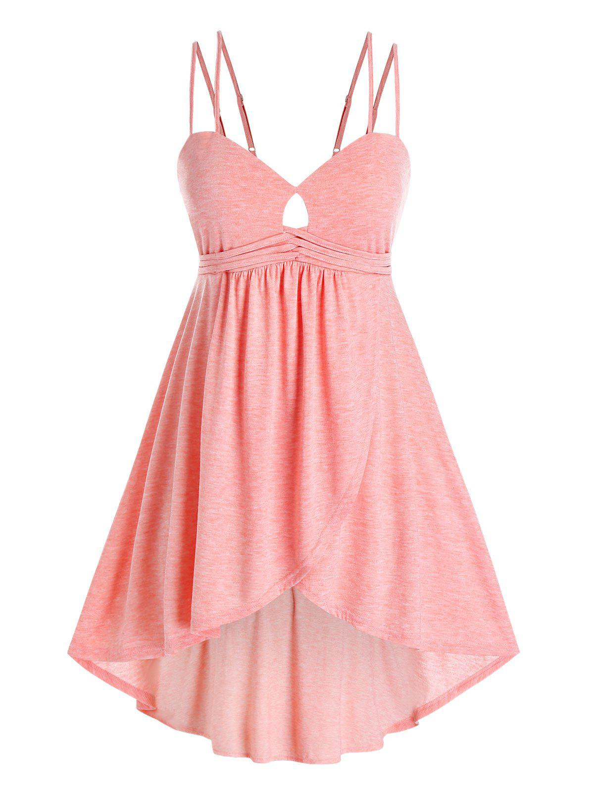 Plus Size High Low Marled Top with Keyhole - LIGHT PINK L