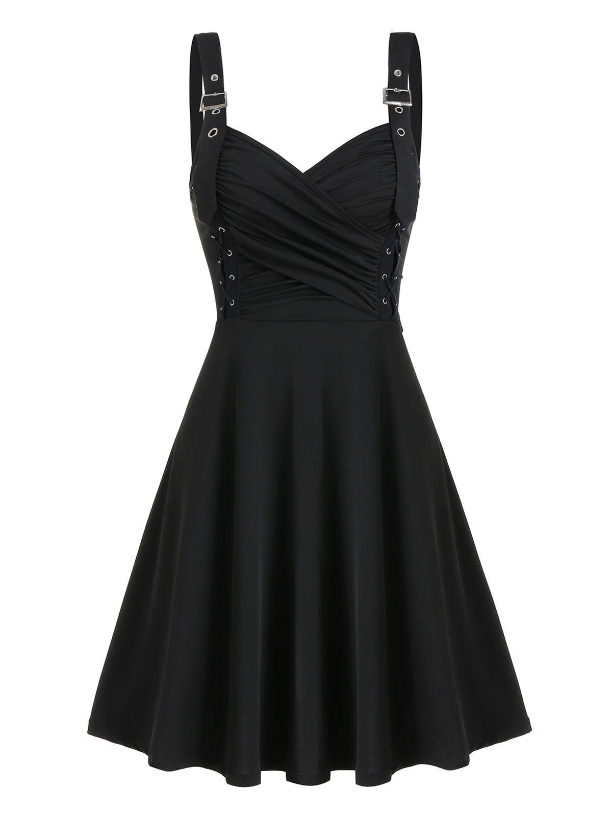 Criss Cross Ruched Bust A Line Dress - BLACK L