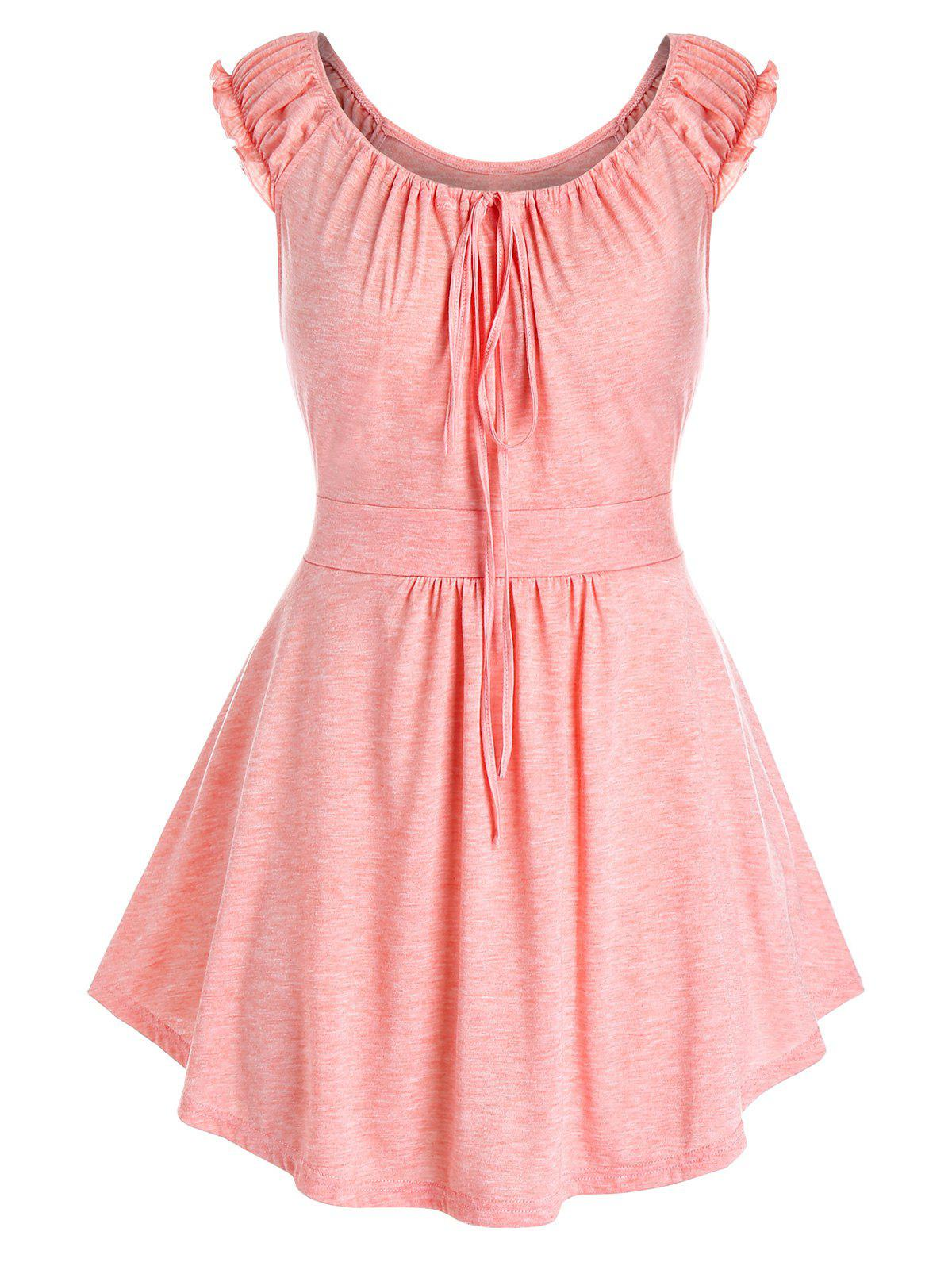 Plus Size Ruched Ruffle Strap Tank Top - LIGHT PINK 1X