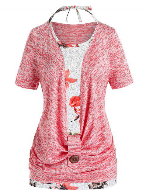 Plus Size Cowl Front Marled T Shirt And Halter Floral Tank Top Set