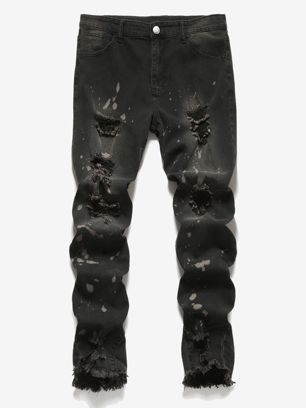 Distressed Design Frayed Hem Jeans - BLACK XL