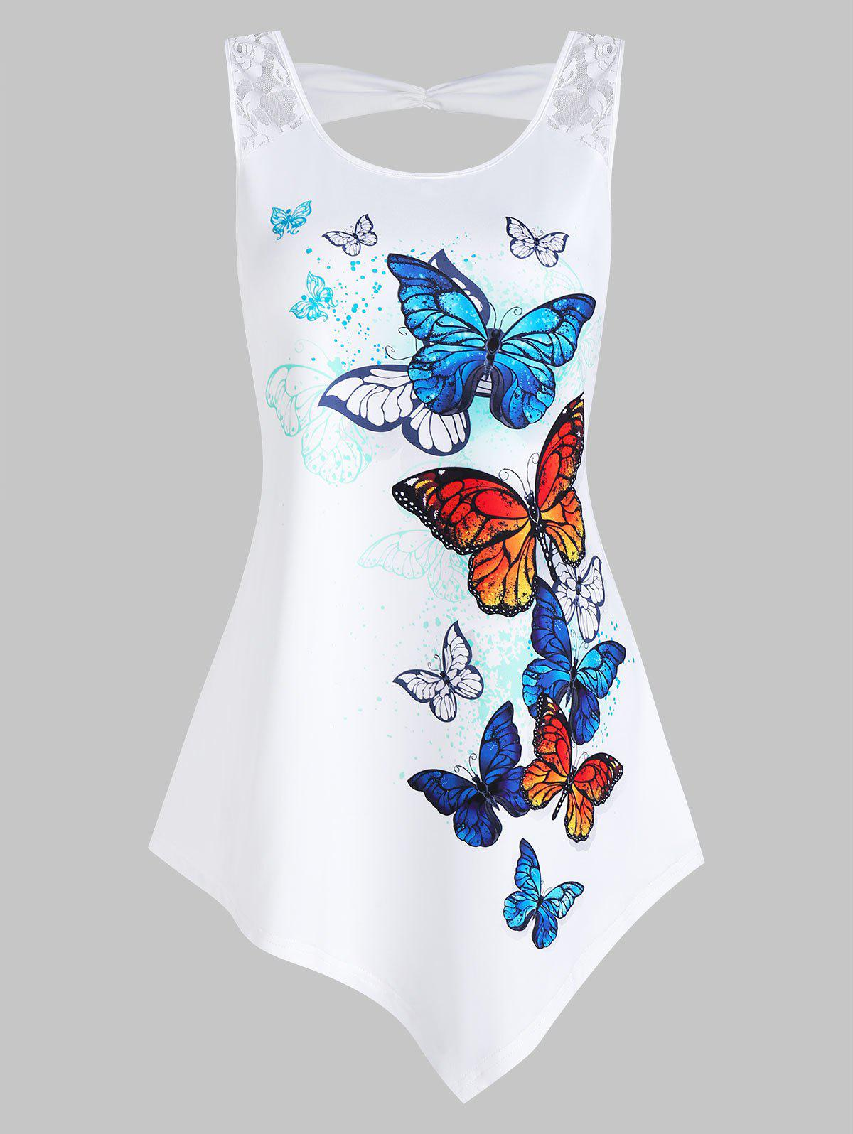 Butterflies Print Lace Panel Asymmetric Tank Top - WHITE L