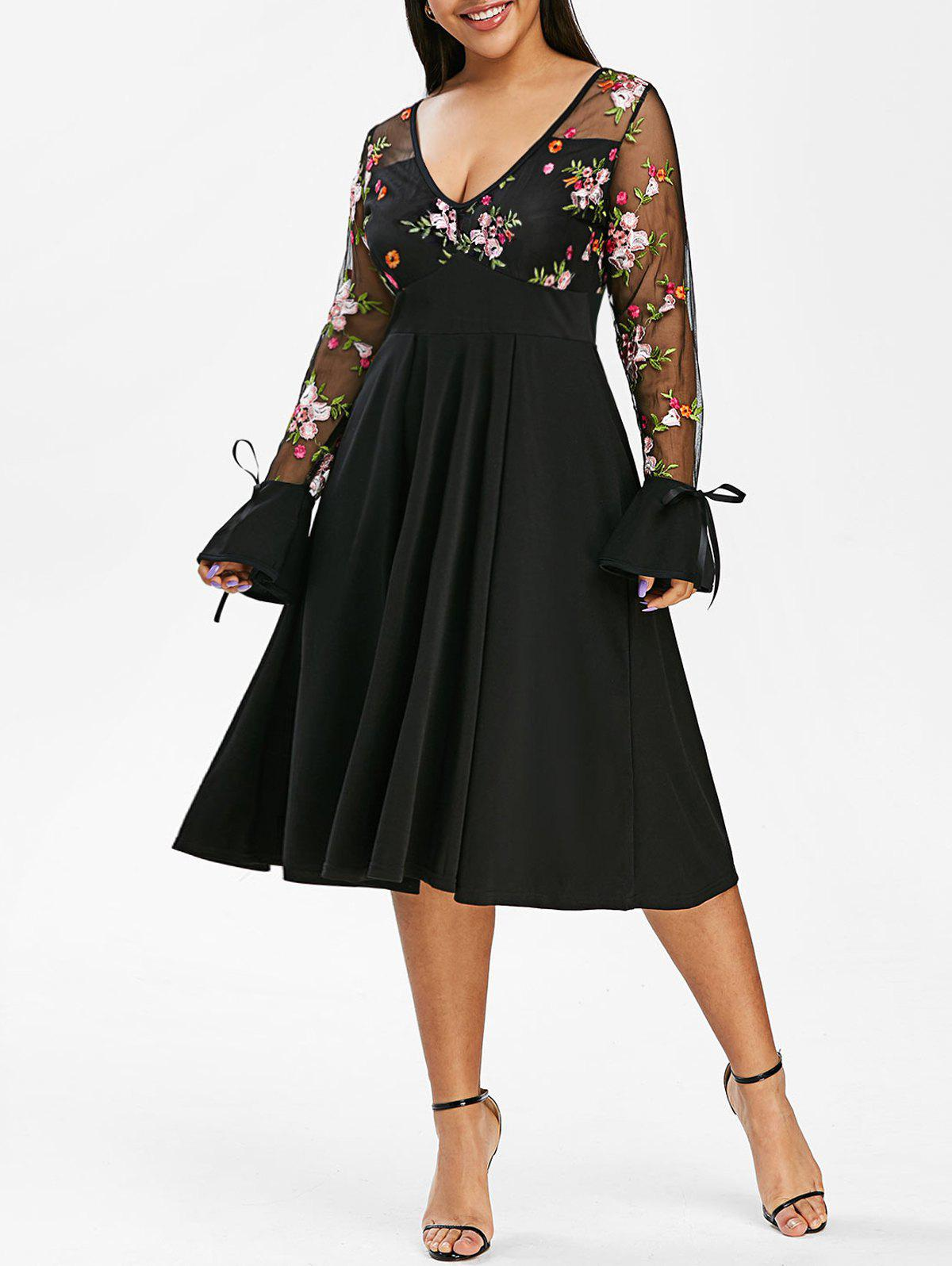Floral Embroidered Tie Sleeve Mesh Panel Plus Size Dress - BLACK 5X