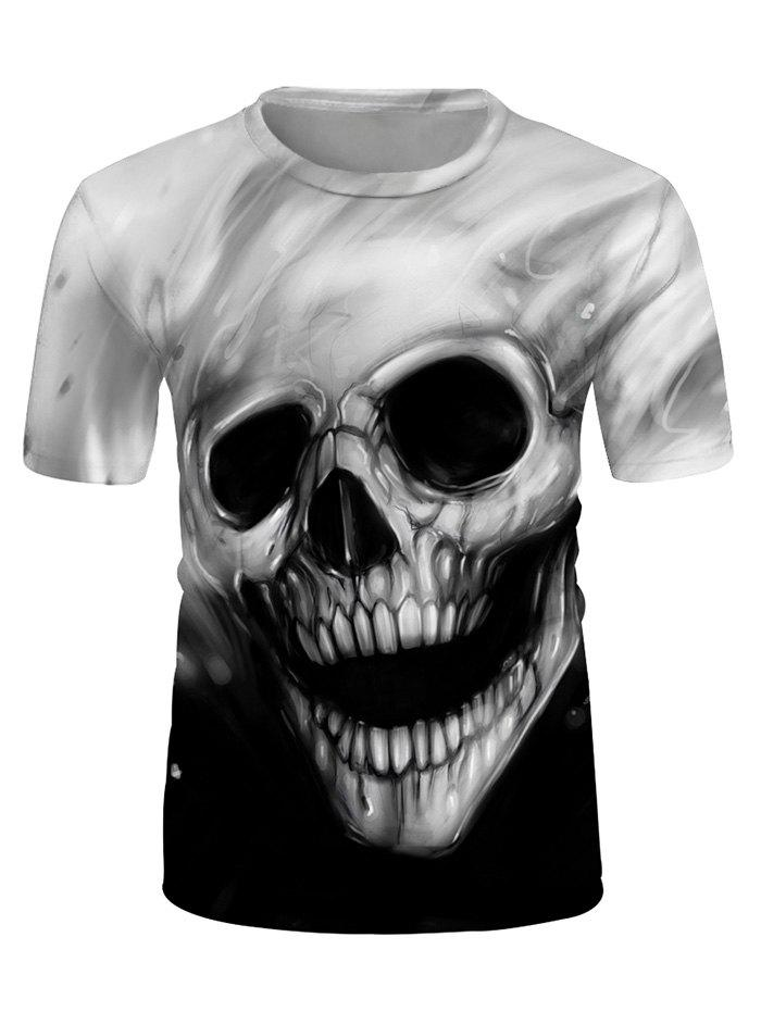 3D Skull Graphic Crew Neck Short Sleeve Tee - multicolor 3XL