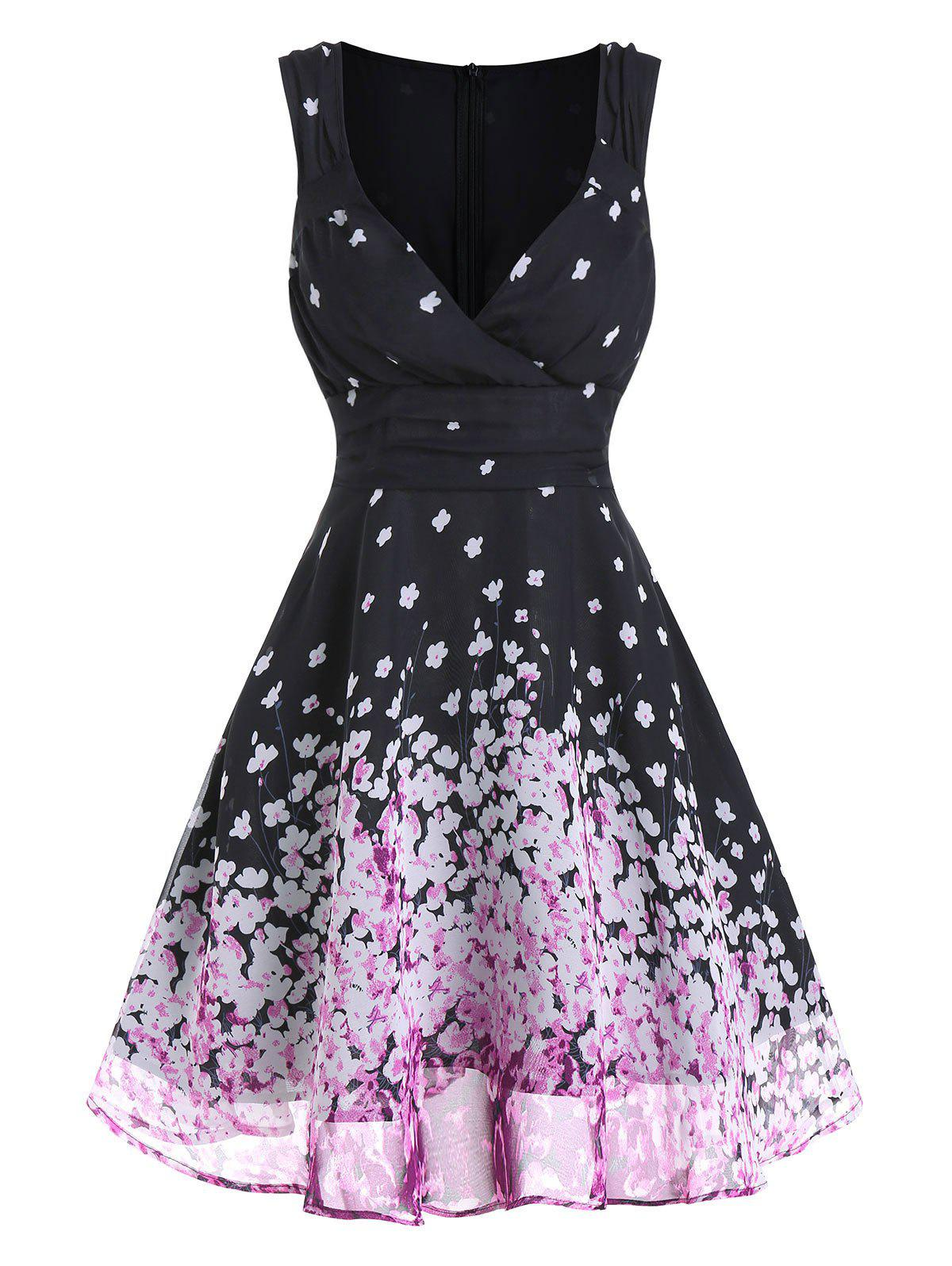 Tiny Floral Print Sleeveless Ruched Chiffon Dress - BLACK XL