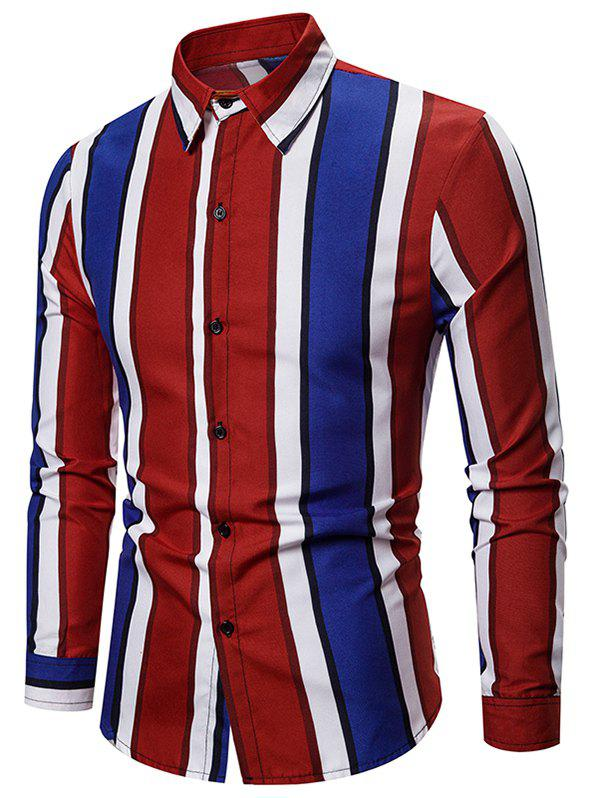 Color-blocking Striped Long Sleeve Casual Shirt - RED S