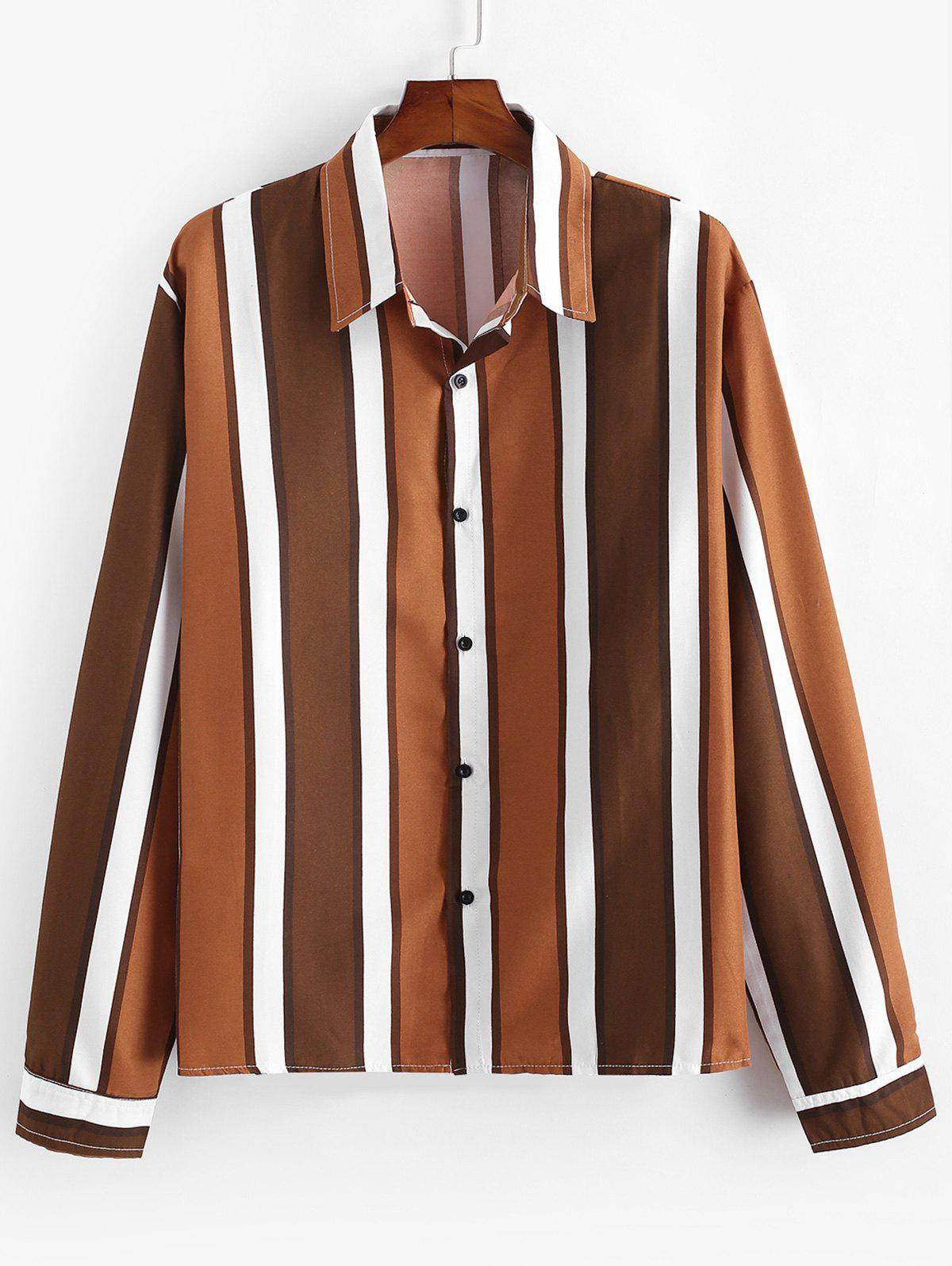 Color-blocking Striped Long Sleeve Casual Shirt - COFFEE XL