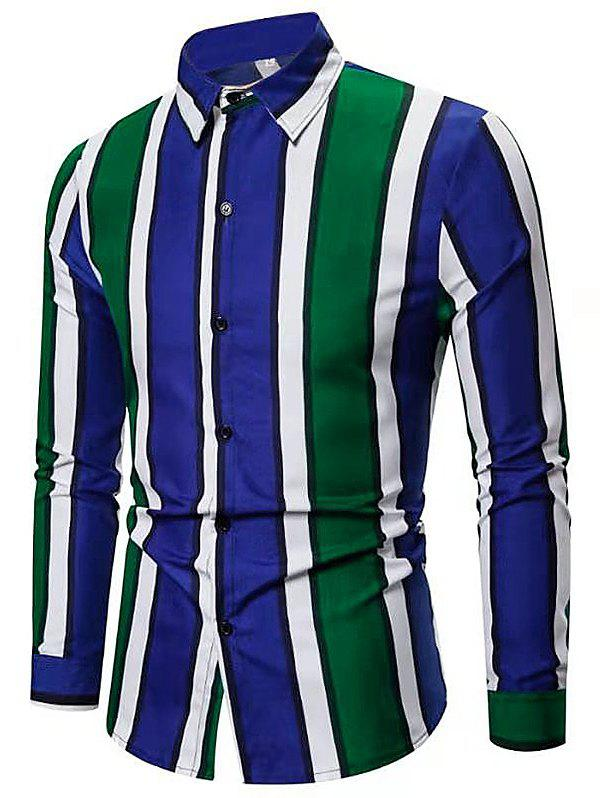 Color-blocking Striped Long Sleeve Casual Shirt - GREEN XL