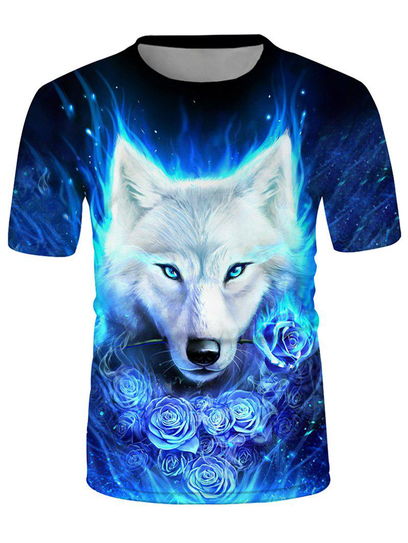 Wolf Floral Graphic Crew Neck Short Sleeve T Shirt - multicolor 3XL