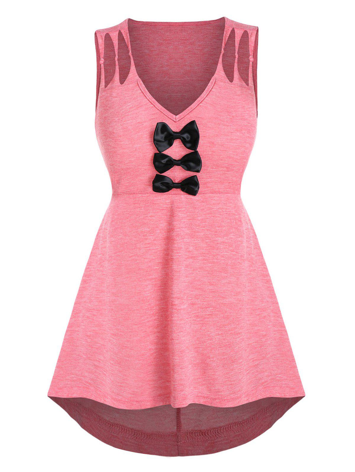 Space Dye Print Bow Detail Knotted Tank Top - FLAMINGO PINK L