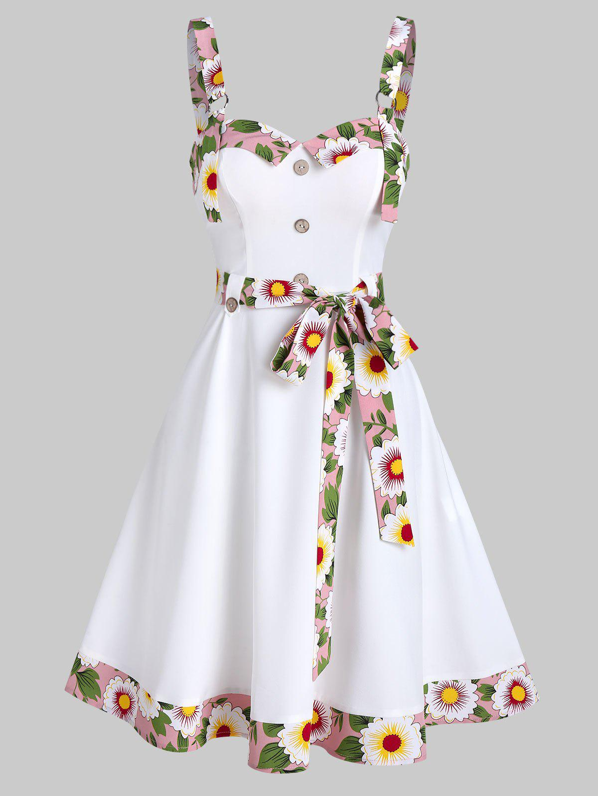 Floral Trim Mock Button Sleeveless Flare Dress - WHITE XL