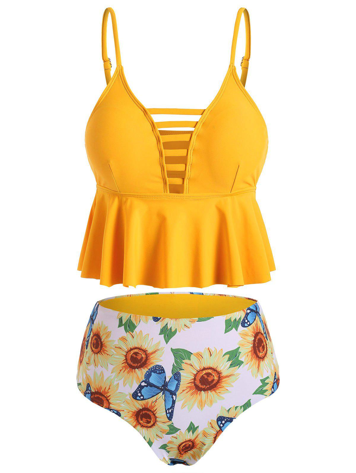 Ladder Cutout Sunflower Butterfly Peplum Tankini Set - CORN YELLOW S
