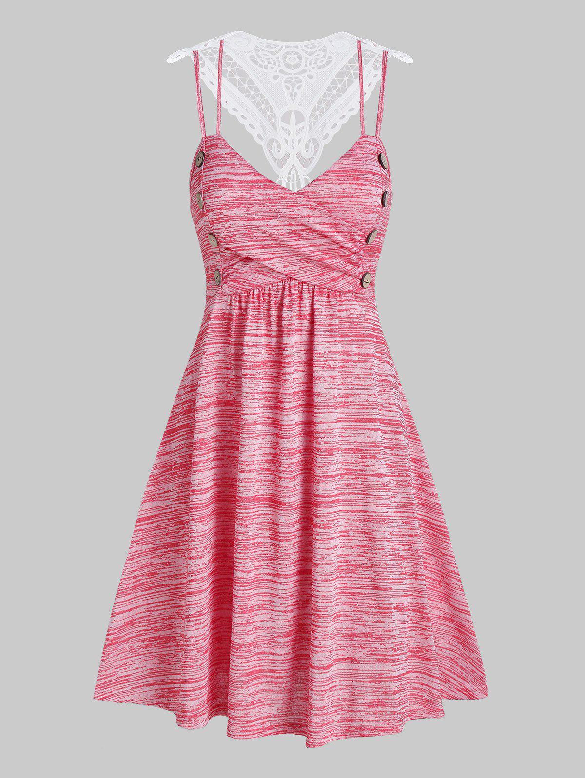 Lace Panel Button Fit And Flare Dress - PINK ROSE 3XL