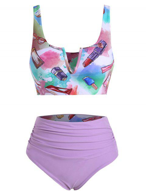 Makeup Print V-wired Ruched Reversible Tankini Set