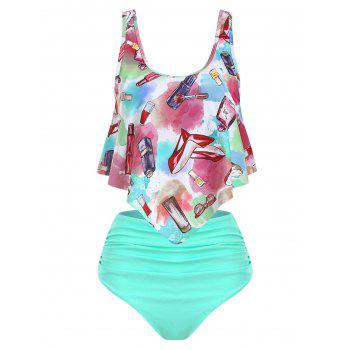 Ruched Fashion Accessories Makeup Print Tankini Set Ruched Fashion Accessories Makeup Print Tankini Set