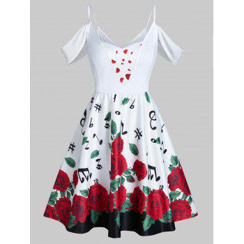 Valentine Flowers Music Notes Print Cold Shoulder Skater Dress