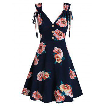 Flower Print Sleeveless Mock Button Dress
