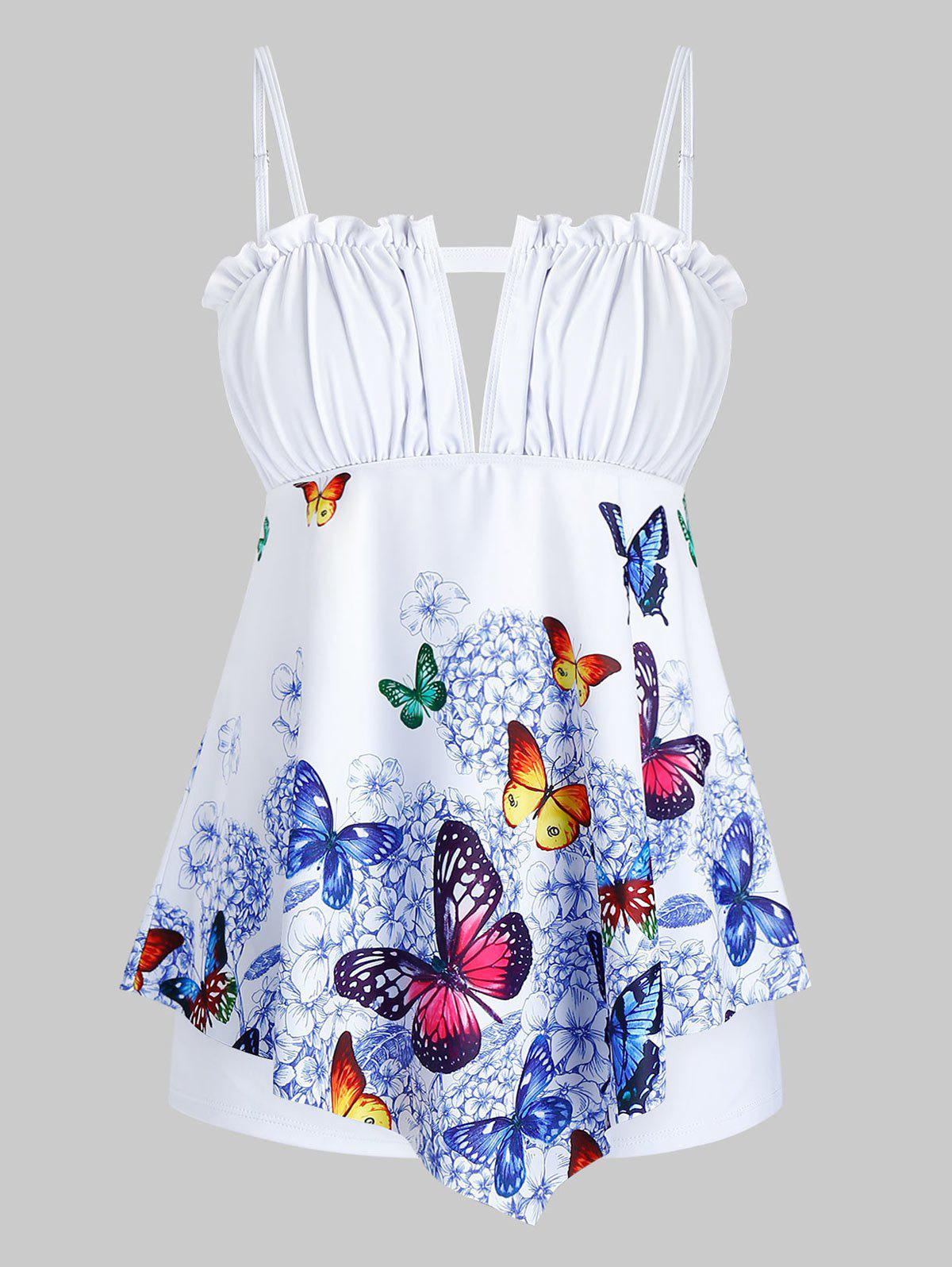 Plus Size Butterfly Print Frilled Trim Padded Tankini Swimwear - WHITE 2X