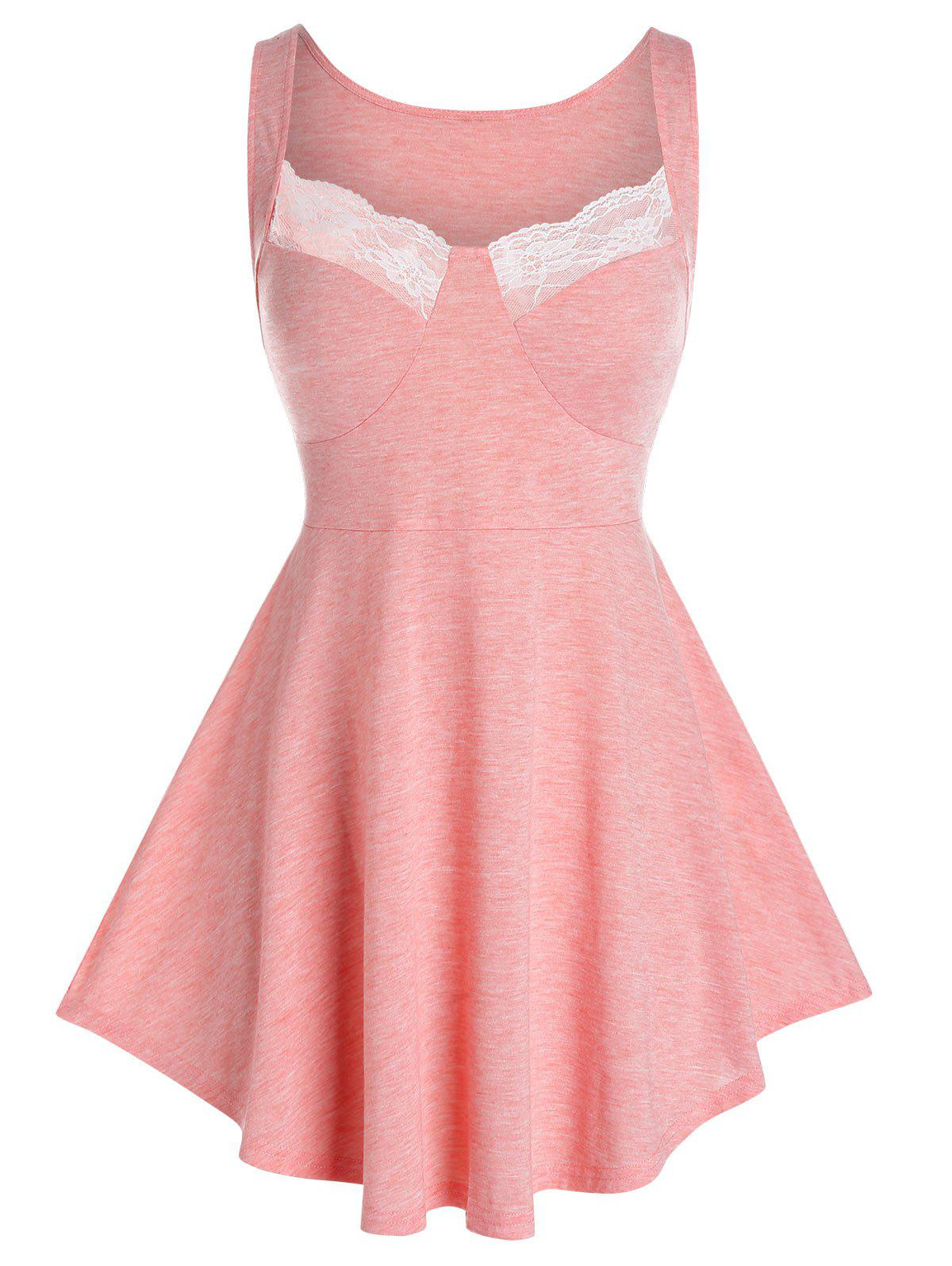 Plus Size Lace Panel Skirted Bustier Tank Top - FLAMINGO PINK 5X