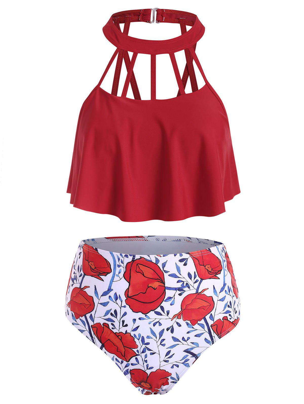 Floral Print Cutout Overlay Tankini Swimwear - CHERRY RED S