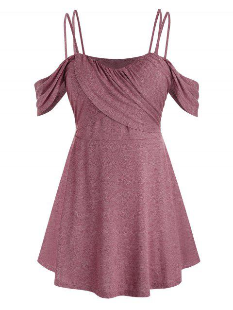 Plus Size Ruched Open Shoulder Crossover Tunic Tee