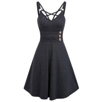 Strappy Mock Button Open Back Casual Dress