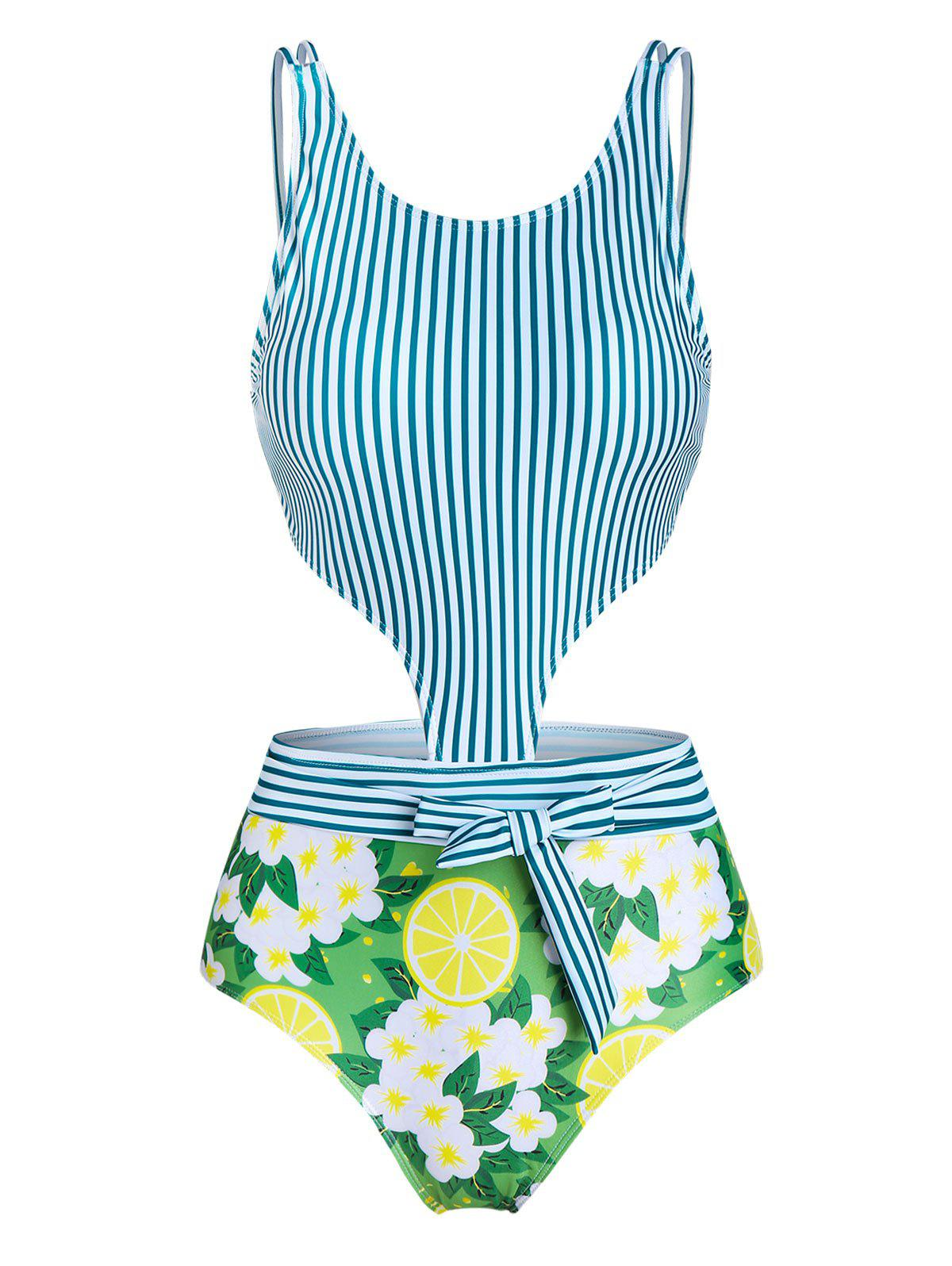 Lemon Striped Cut Out Padded One-piece Swimsuit - CLOVER GREEN L