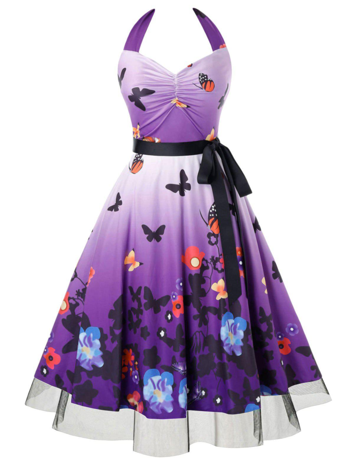 Plus Size Butterfly Floral Halter Belted Dress - PURPLE AMETHYST 2X