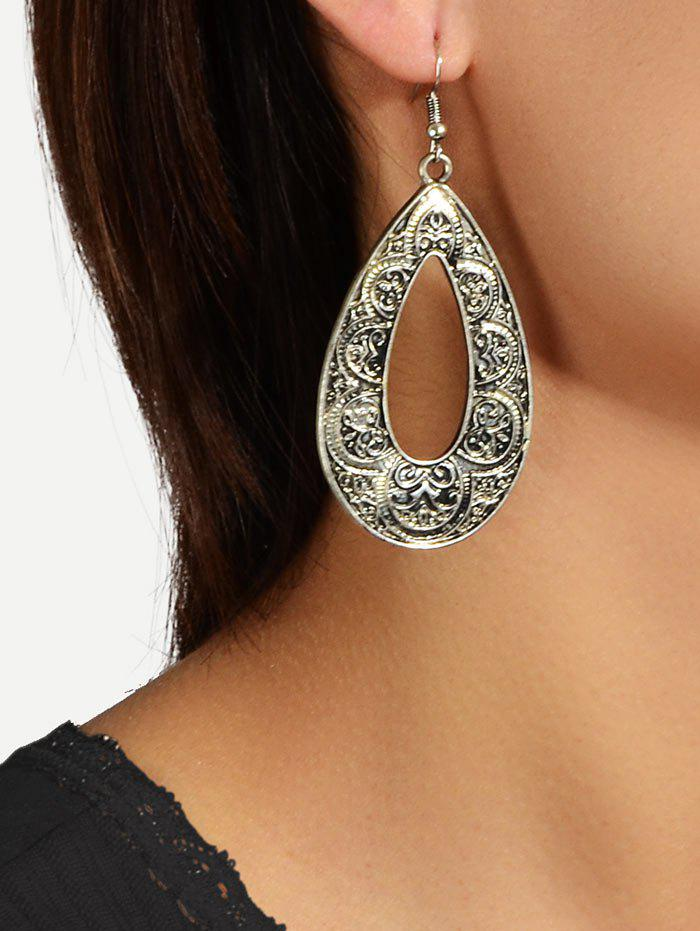 Engraved Retro Water Drop Earrings - SILVER
