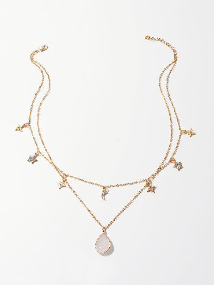 Star Moon Water Drop Layered Necklace - GOLD