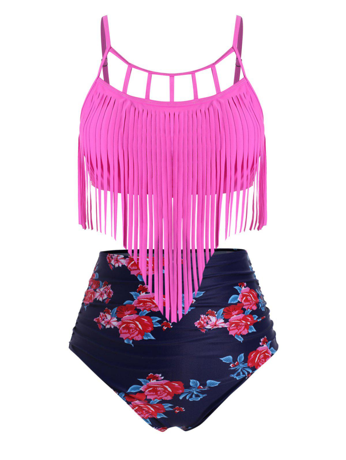 Fringed Floral Ruched High Waisted Plus Size Tankini Swimsuit - ROSE RED 2X