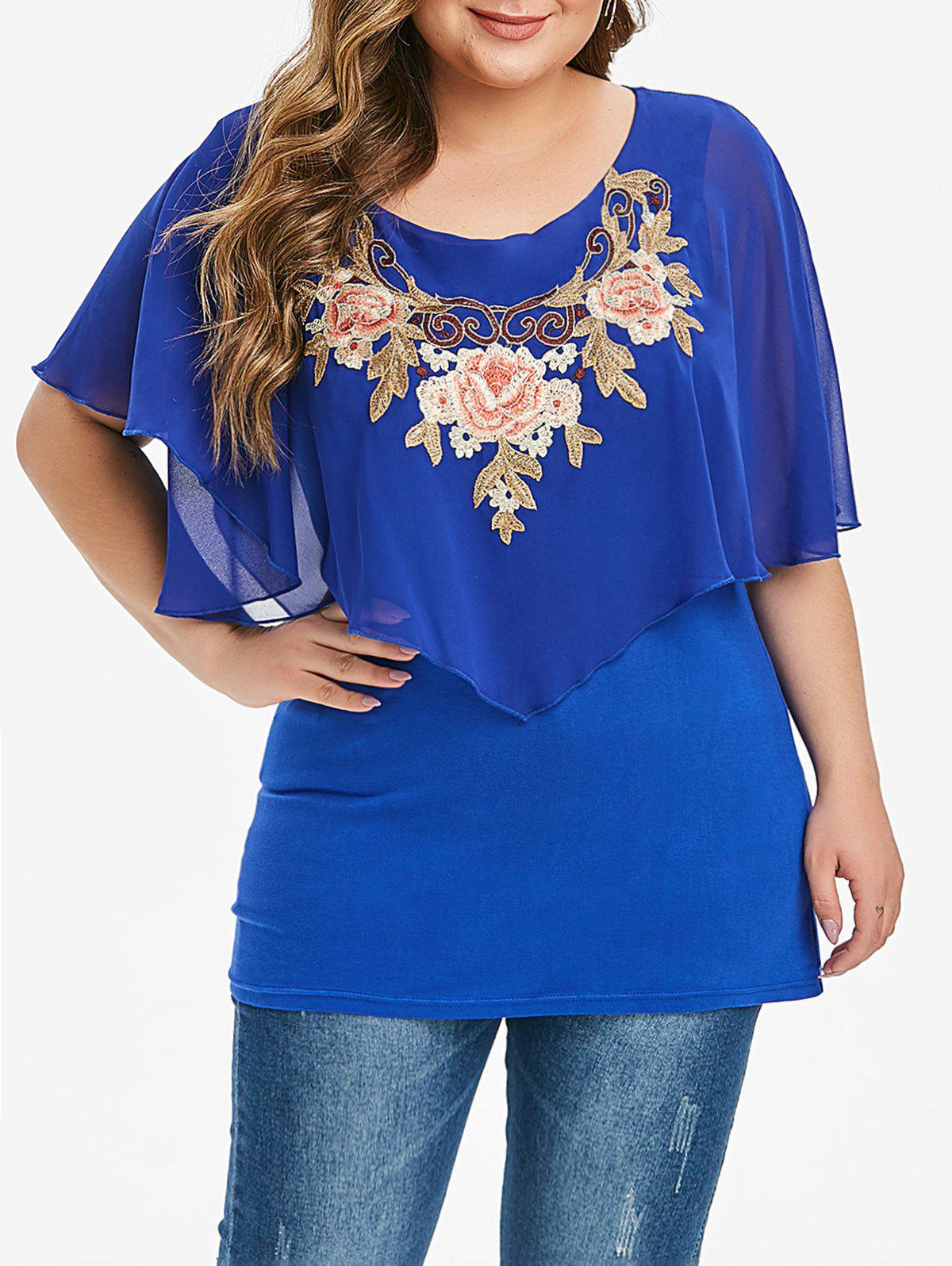 Floral Embroidered Overlay Chiffon Panel Plus Size Blouse - BLUE 5X