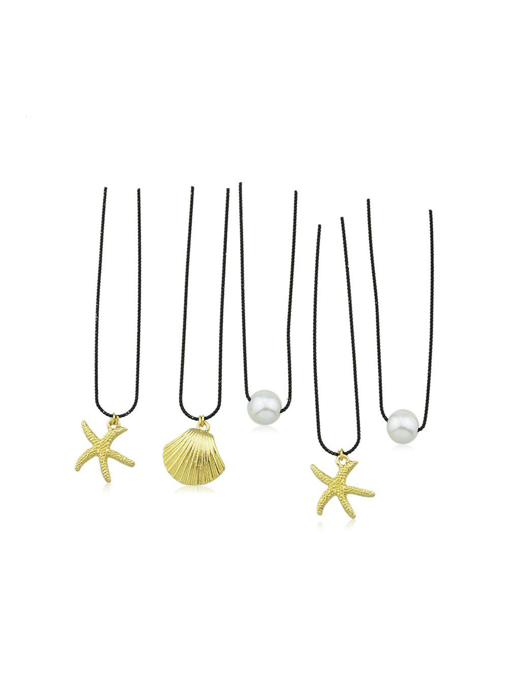 5Pcs Faux Pearl Shell Starfish Hairpin Set - GOLD