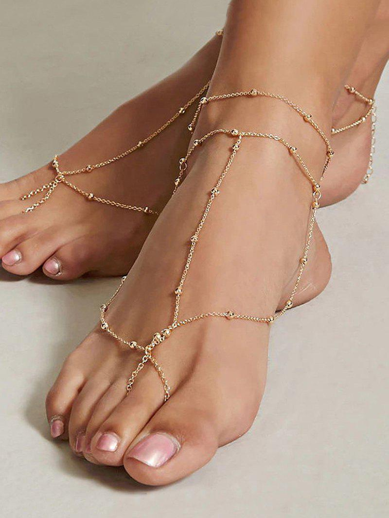 Beach Toe Ring Chain Anklet - GOLD