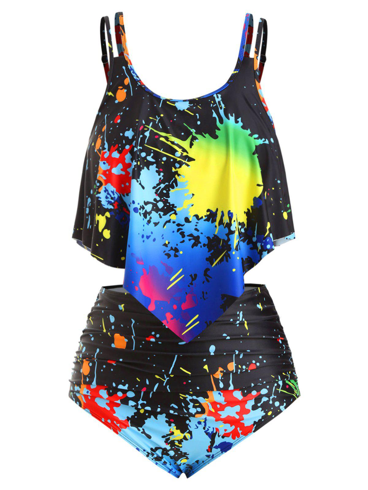 Splatter Paint Overlay Ruched Strappy Plus Size Tankini Swimsuit - BLACK L