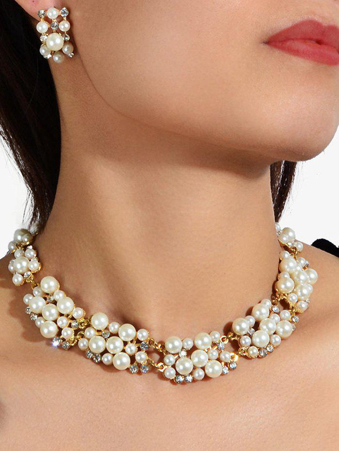 Rhinestone Pearl Wedding Jewelry Set - GOLD