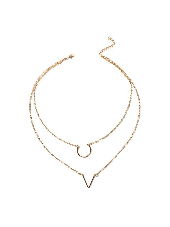 V Shape Chain Layers Necklace - GOLD