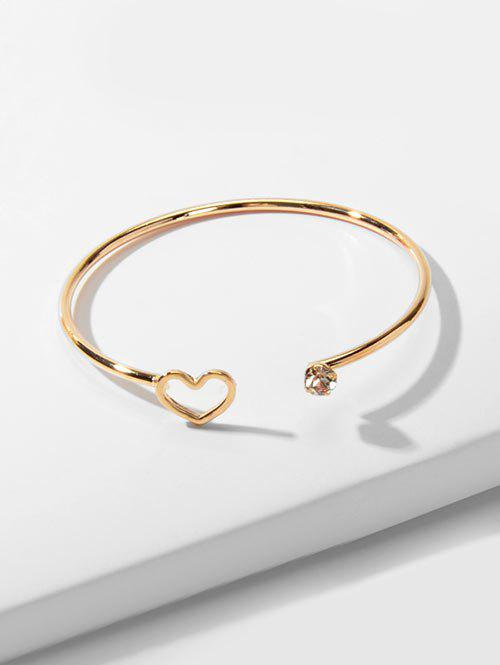 Rhinestone Hollow Heart Open Cuff Bracelet - GOLD