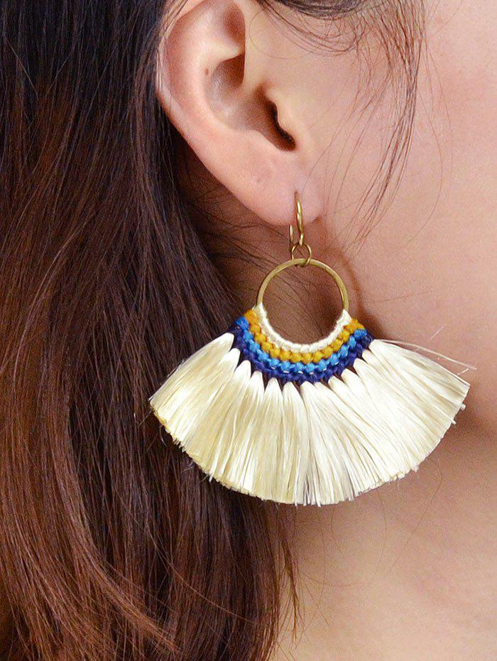 Bohemian Fringe Sector Drop Earrings - BEIGE