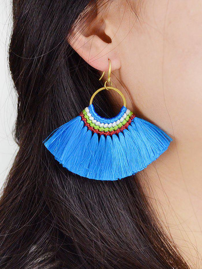 Bohemian Fringe Sector Drop Earrings - BLUE