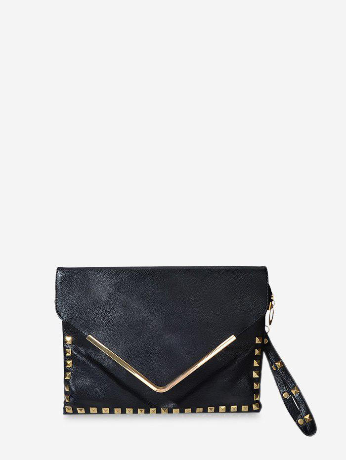 Envelope Rivet Clutch Bag - BLACK