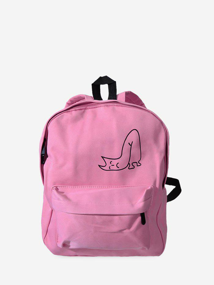Canvas Pattern Backpack - LIGHT PINK