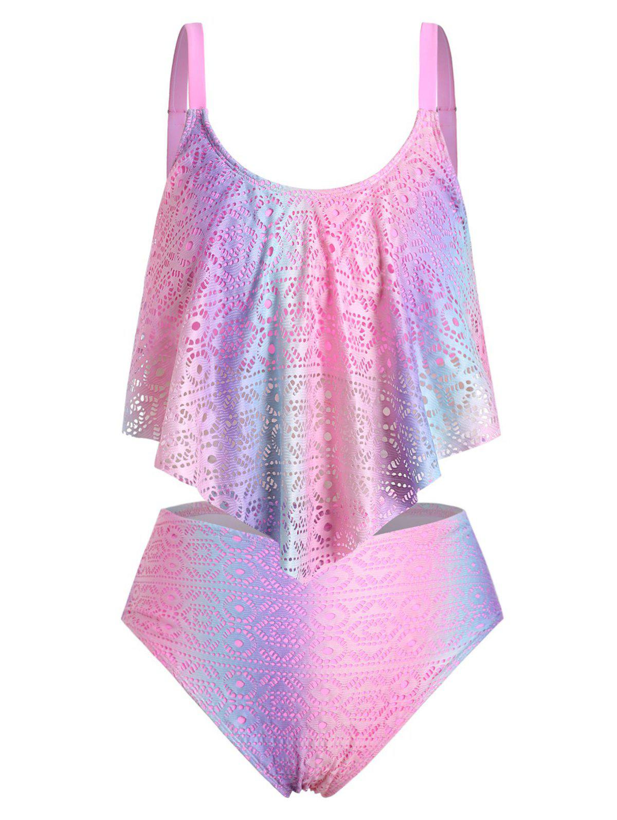 Flounce Perforated Ombre Plus Size Tankini Swimsuit - PINK 1X
