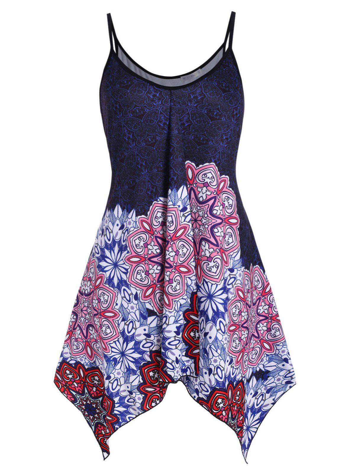 Butterfly Printed Handkerchief Longline Plus Size Cami Top - BLUE 3X